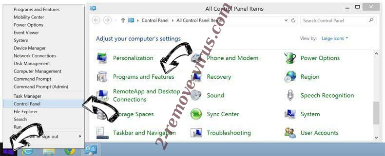 Delete Ctcodeinfo.com from Windows 8
