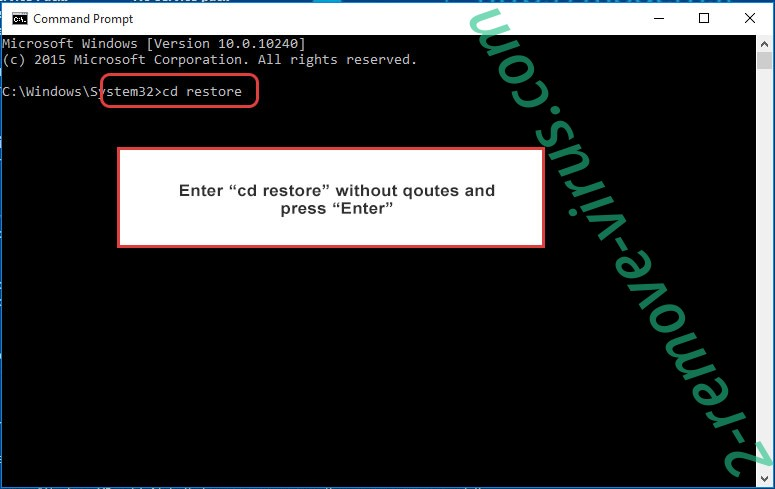 Uninstall Korea Ransomware - command prompt restore