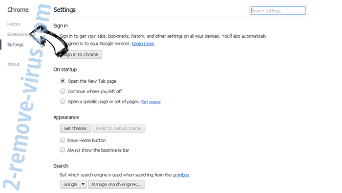 Initial Page 123 Chrome settings