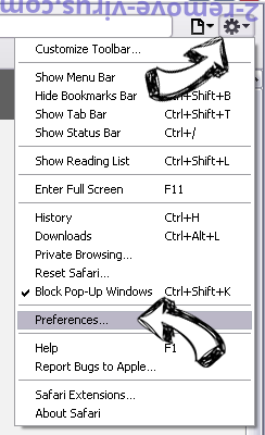 DarkGate virus Safari menu
