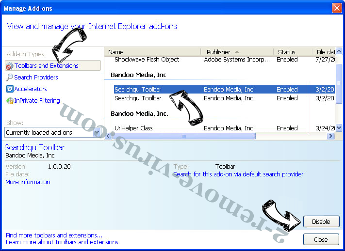 Allweathersearch-svc.com IE toolbars and extensions