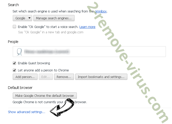 SearchSpace Redirect Virus Chrome settings more