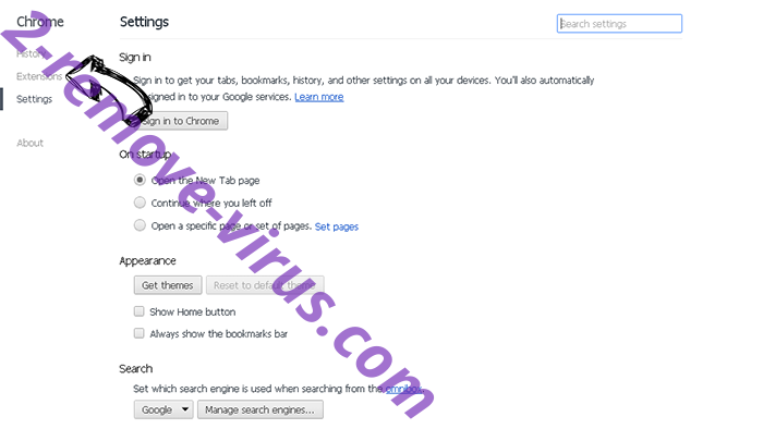 SearchSpace Redirect Virus Chrome settings