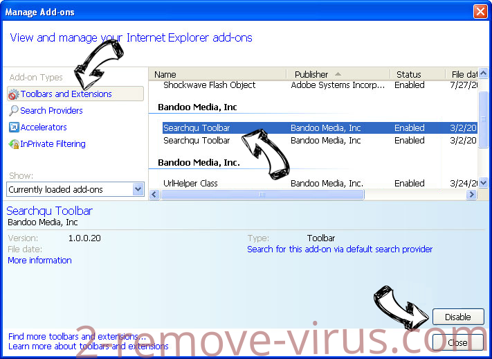 SearchSpace Redirect Virus IE toolbars and extensions