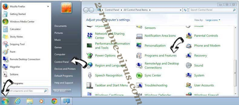 Uninstall Wod007.com from Windows 7