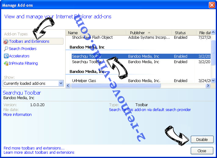 Hmysearchassistance.com IE toolbars and extensions