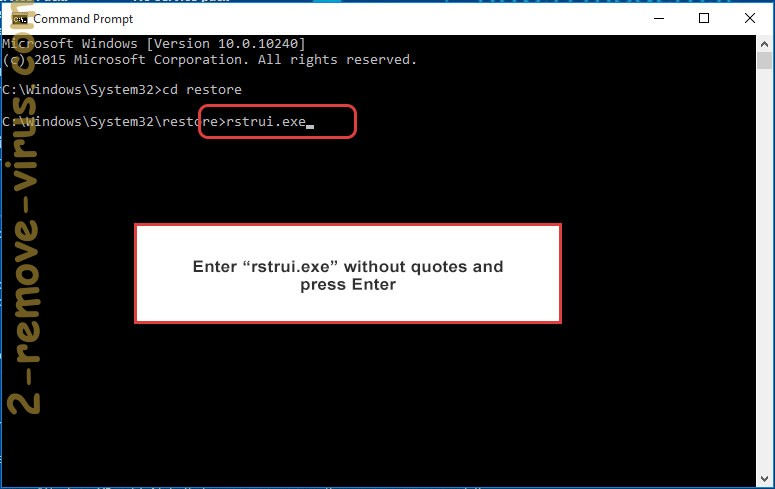 Delete Smoke Loader Trojan - command prompt restore execute