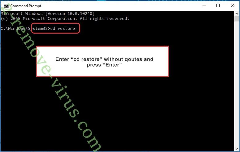 Uninstall Armageddon ransomware - command prompt restore