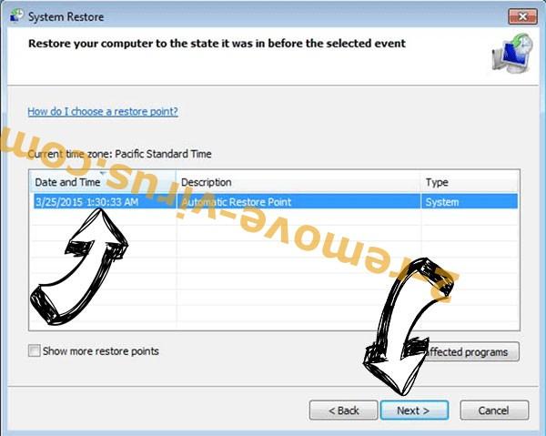 Bomba ransomware - restore point