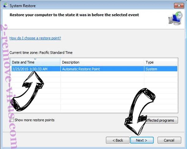 Armageddon ransomware - restore point