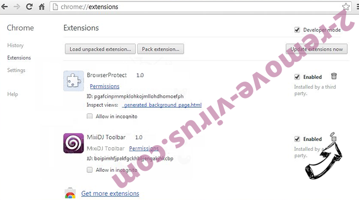 gloyah.net virus Chrome extensions remove