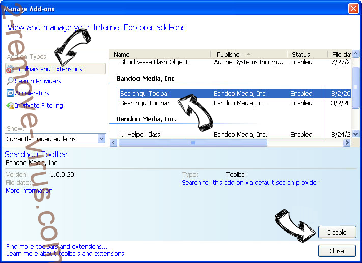 Open Software Updater IE toolbars and extensions