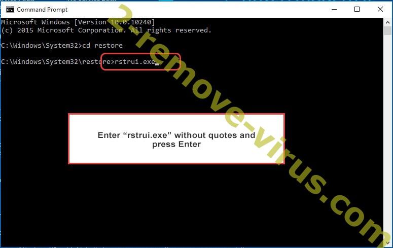 Delete Cobra Locker ransomware - command prompt restore execute