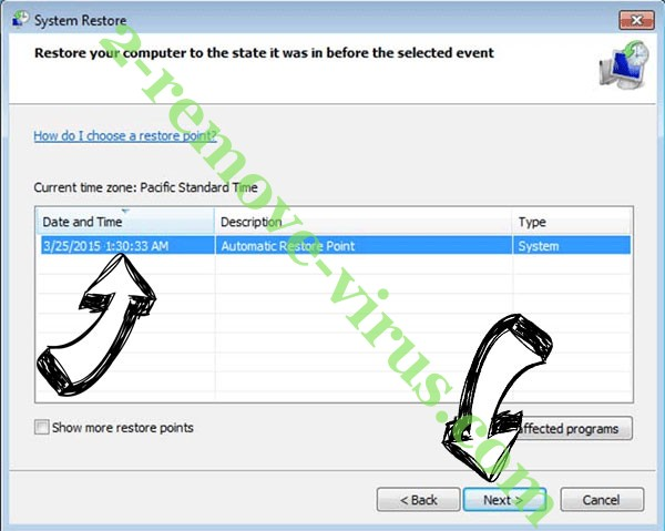 CryptoLocker - restore point