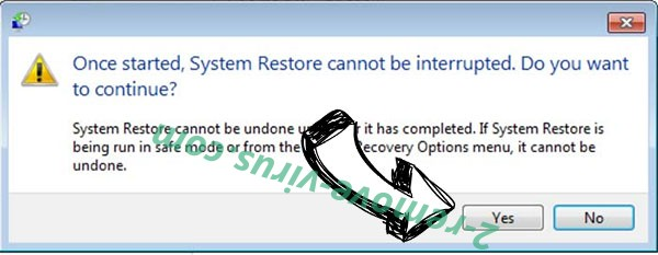 .Vesrato file virus removal - restore message