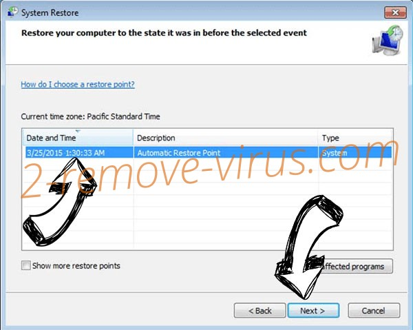 .Vesrato file virus - restore point