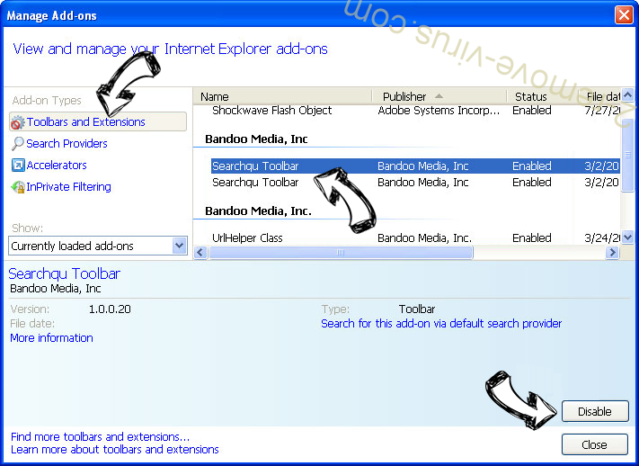 Search.earthandsatelliteviewtab.com IE toolbars and extensions