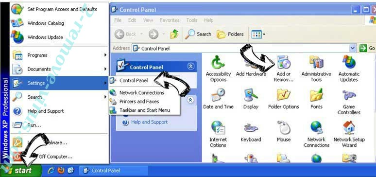 Remove Lorybnfh.com from Windows XP