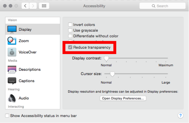 Limit or turn off visual effects MAC