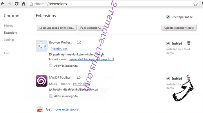 Search Omiga browser hijacker Chrome extensions remove