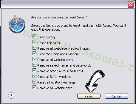 Search Omiga browser hijacker Safari reset