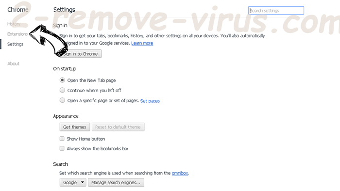 Ariocroft.com virus Chrome settings