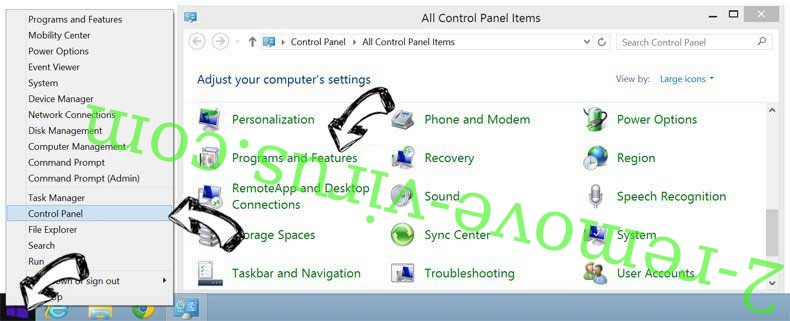 Delete Contentcloud.link from Windows 8