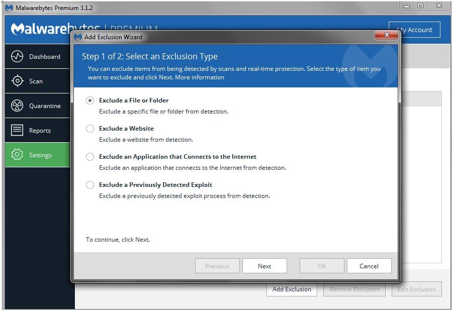 Malwarebytes Add Exclusions