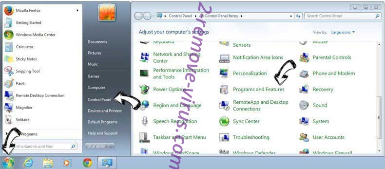 Uninstall Newstrackr.co from Windows 7