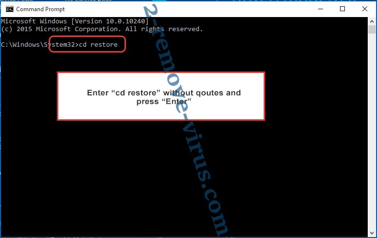 Uninstall Mercury ransomware - command prompt restore