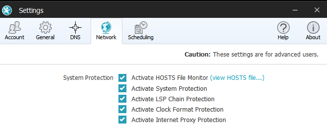 Network and DNS settings