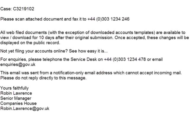 Companies House Email Virus