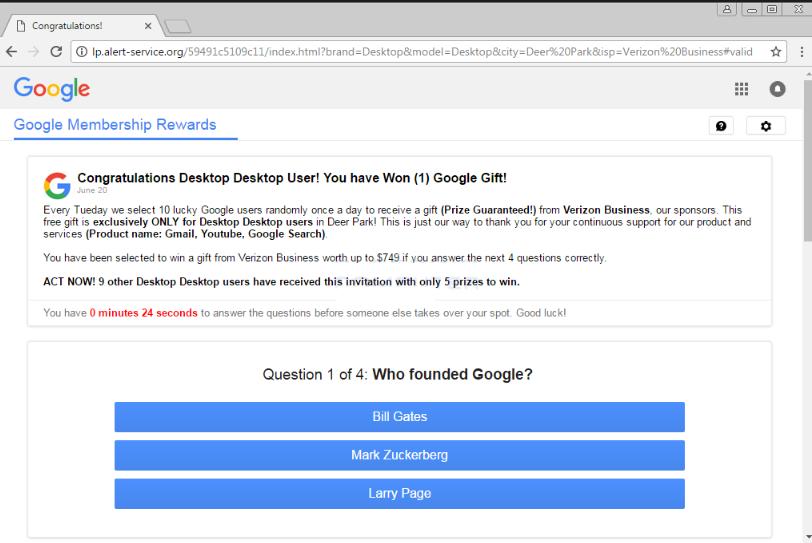Google Prize scam