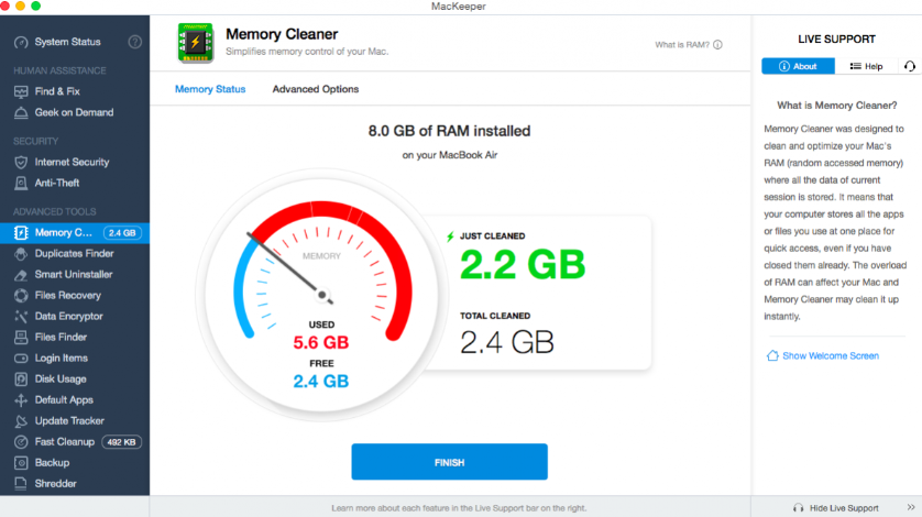 MacKeeper Memory Cleaner