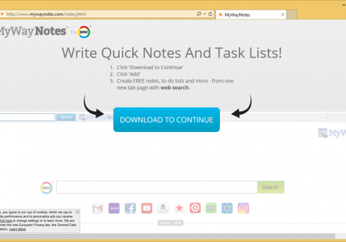 Rimuovere MyWayNotes Toolbar