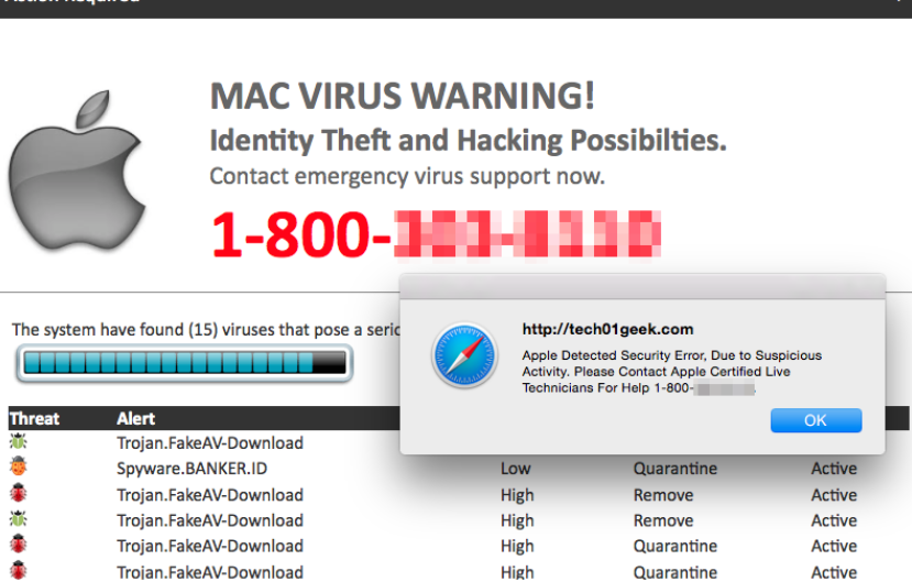 VIRUS ALERT FROM APPLE POP-UP Scam