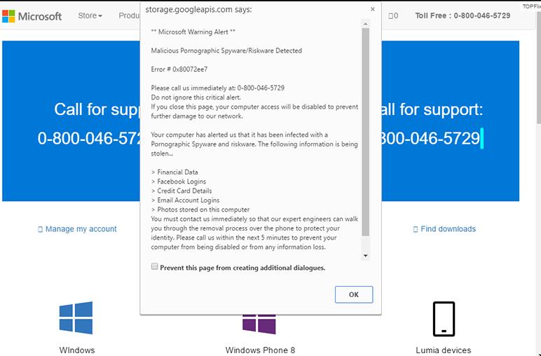 Fake Microsoft Warning Alert Virus