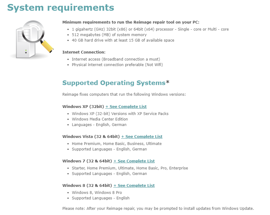 Reimage system requirements