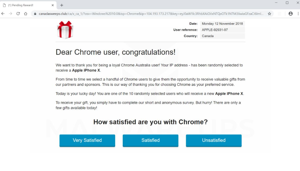 Dear Chrome User, Congratulations! Virus
