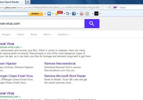 Yahoo Toolbar virus إزالة