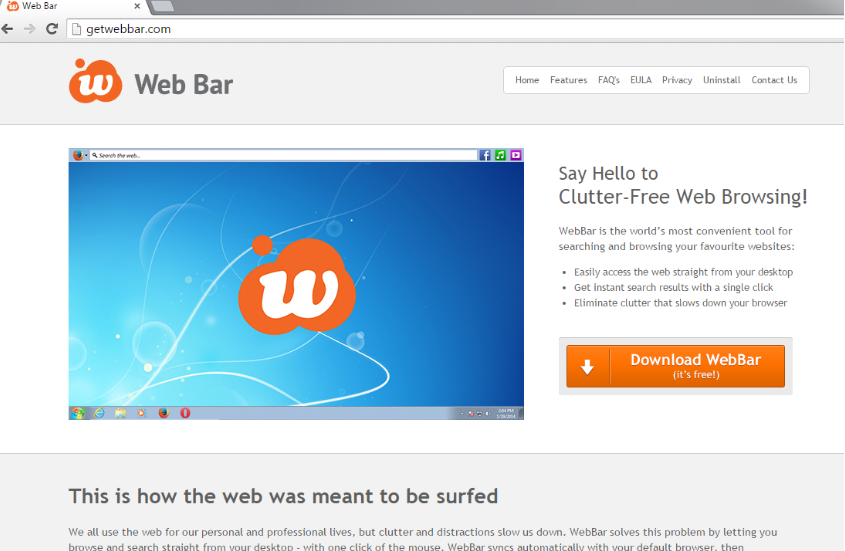 Web Bar toolbar