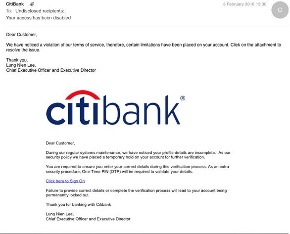 CitiBank virus
