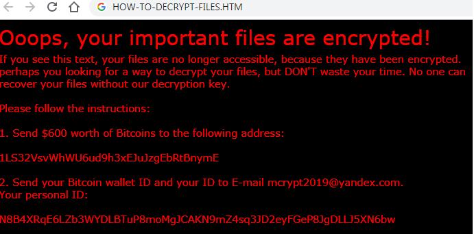 MCrypt2019 Ransomware