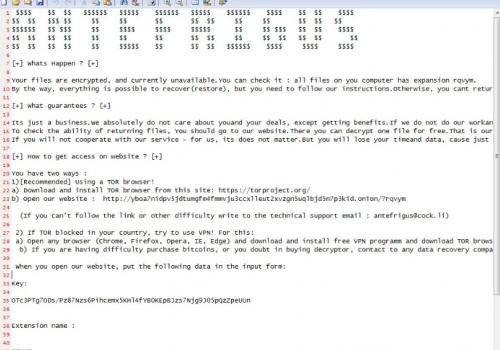 Remove .ANTEFRIGUS file rasomware