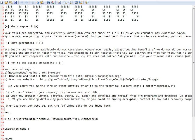ANTEFRIGUS file rasomware