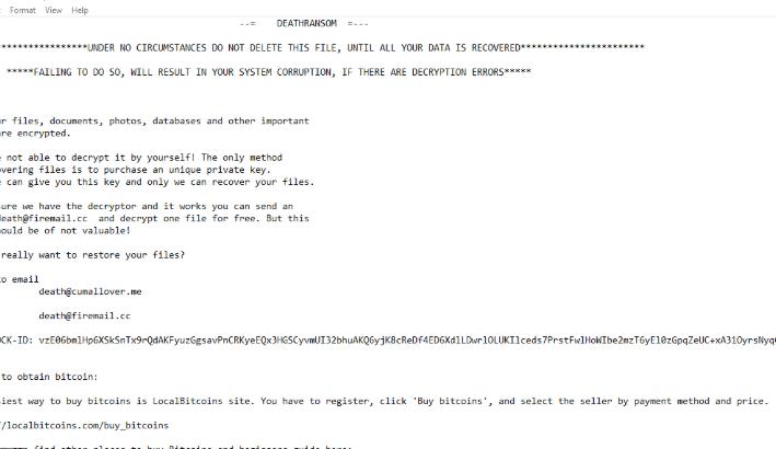 Poistaa DeathRansom ransomware