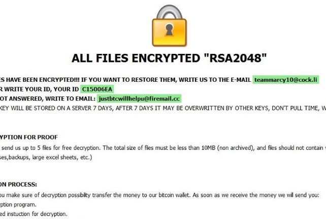 Fjerne [teammarcy10@cock.li].kharma ransomware