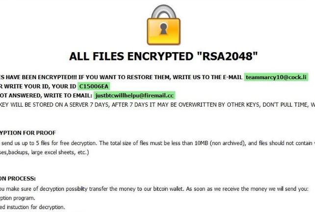 Entfernen [teammarcy10@cock.li].kharma ransomware