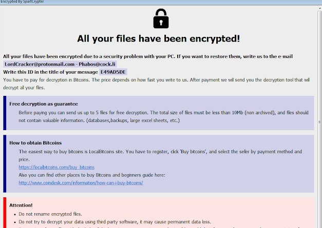 Fjerne SpartCrypt file ransomware