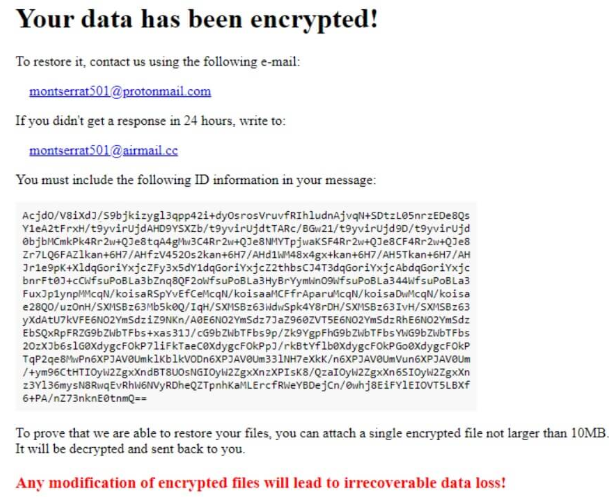 Monstserrat ransomware Penghapusan